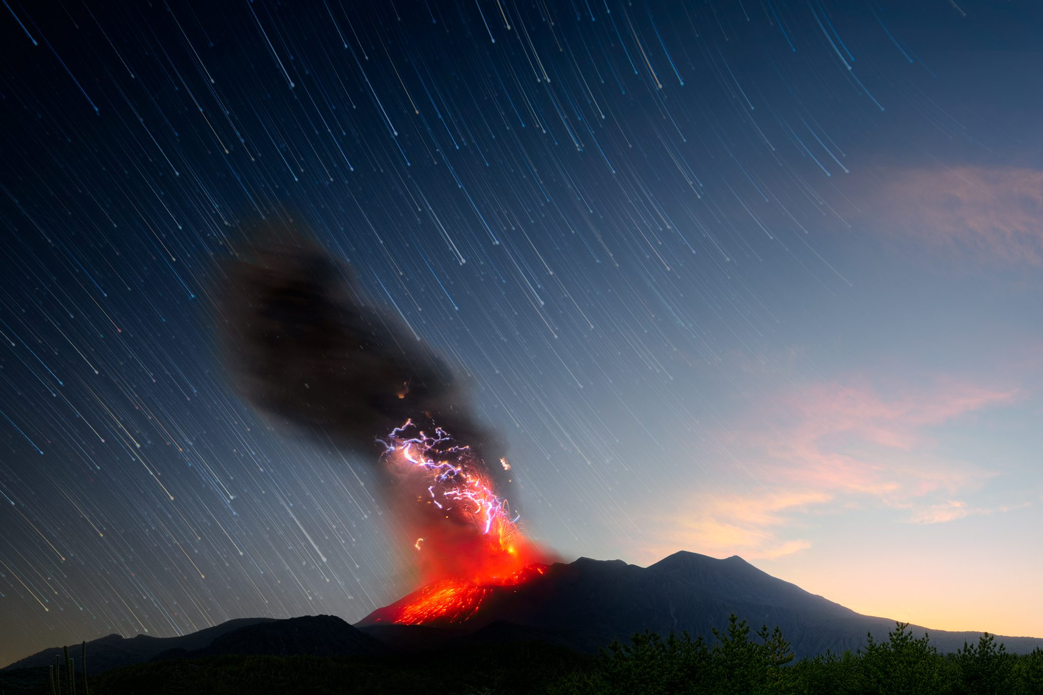 Just as I was finishing with capturing star trail sequence, the ground shook and nature provided me with one of the most majestic displays I have ever seen. To see an explosive strombolian eruption in person has been my wish for decades. I knew I had the best chance so far during our Japan adventure since Sakurajima is the most active volcano in the world. Nature is so majestic I can't even begin to describe how I felt watching a whole mountain on fire and sky covered with static lightning.